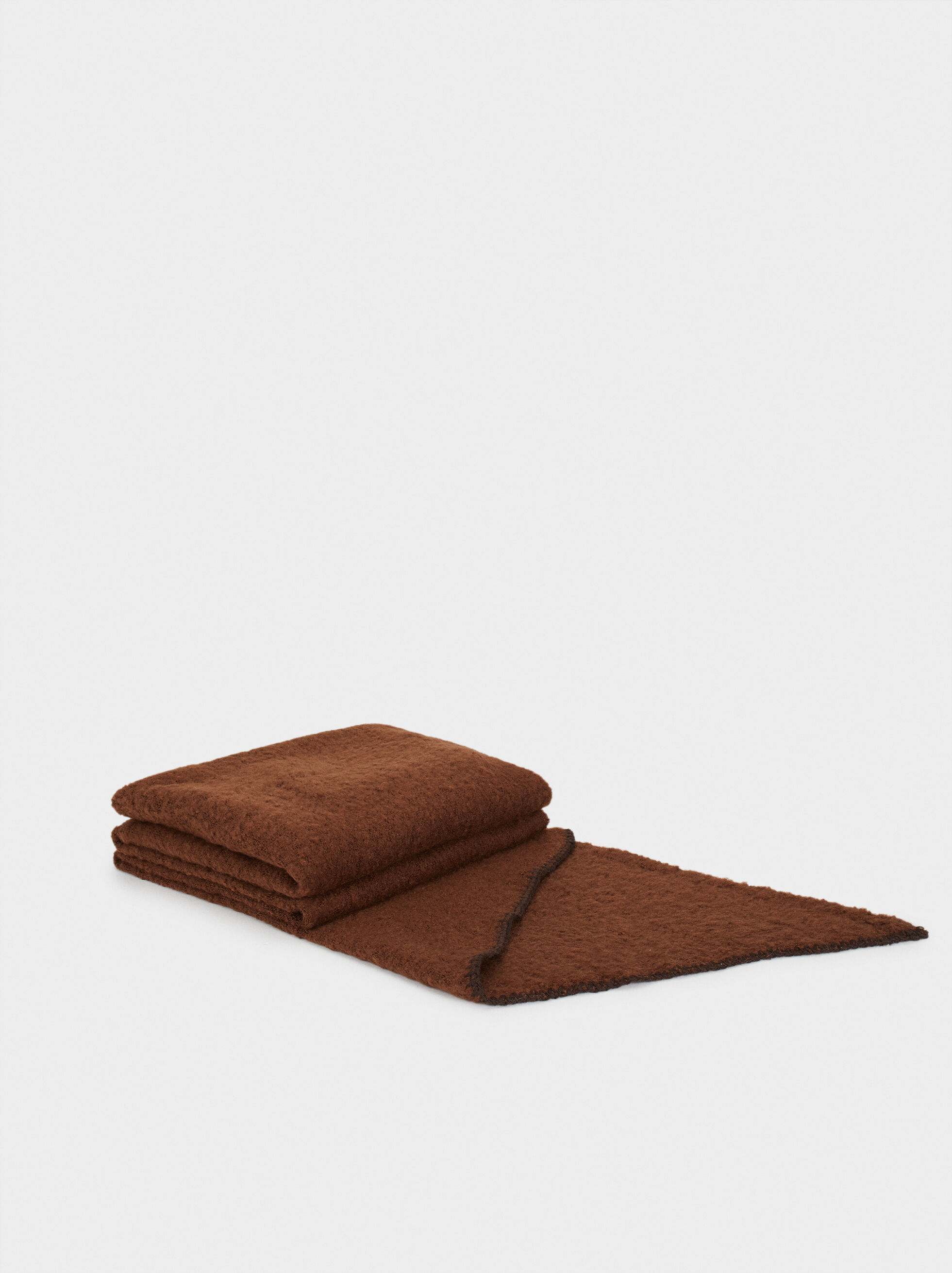 Plain Maxi Scarf, Brown, hi-res