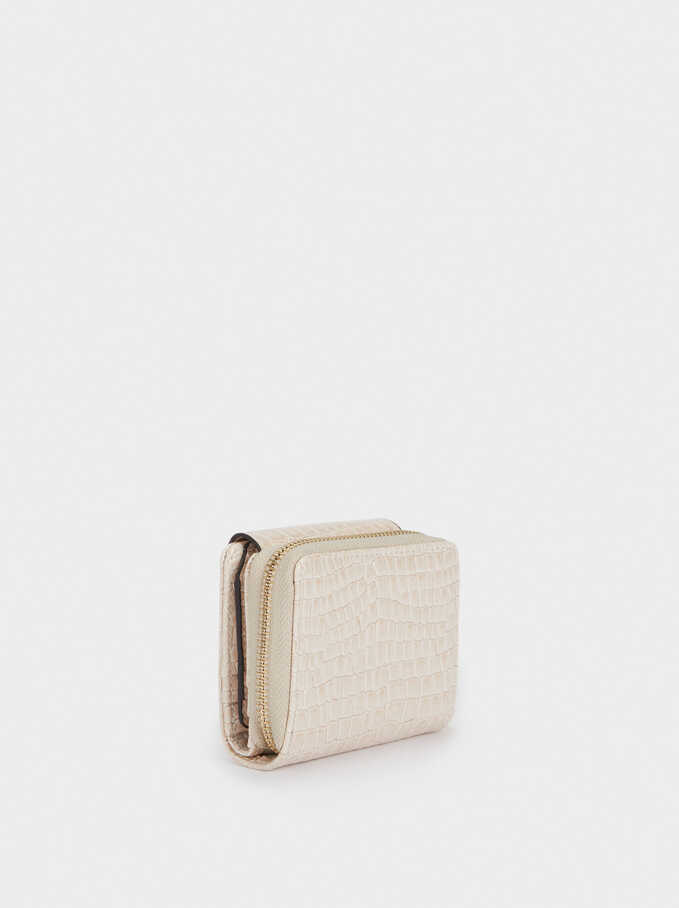 Embossed Compact Purse, Ecru, hi-res