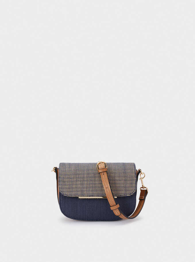Raffia Textured Crossbody Bag, Navy, hi-res