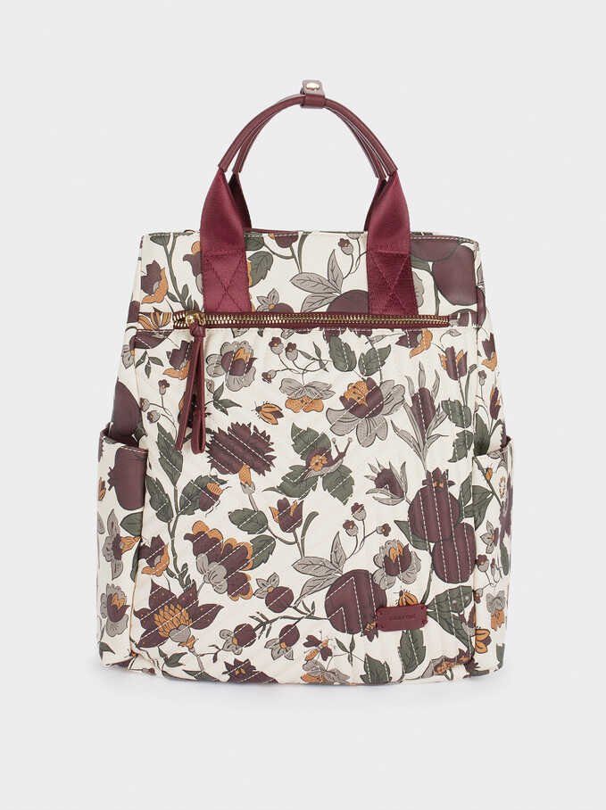 """Printed Backpack Backpack For 13"""" Laptop, Ecru, hi-res"""