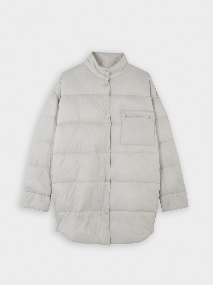 Button-Up Quilted Coat, Grey, hi-res