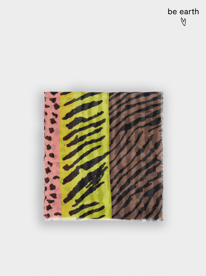 Printed Scarf Made From Recycled Materials, Yellow, hi-res