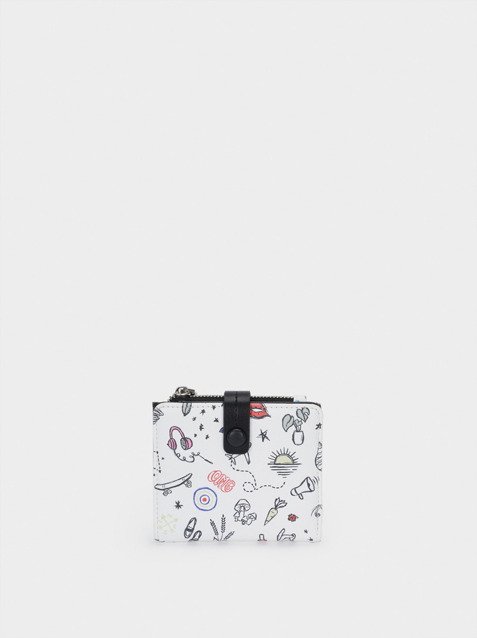 Compact Printed Wallet, White, hi-res
