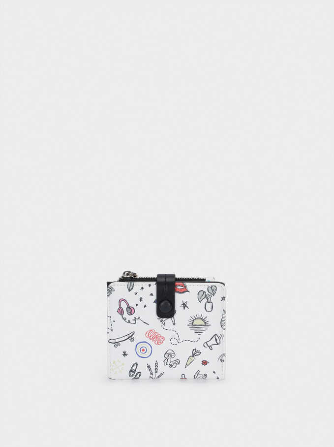 Portefeuille Compact Avec Imprimé, Blanc, hi-res