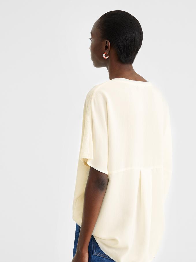 Knitted V-Neck Top, Ecru, hi-res