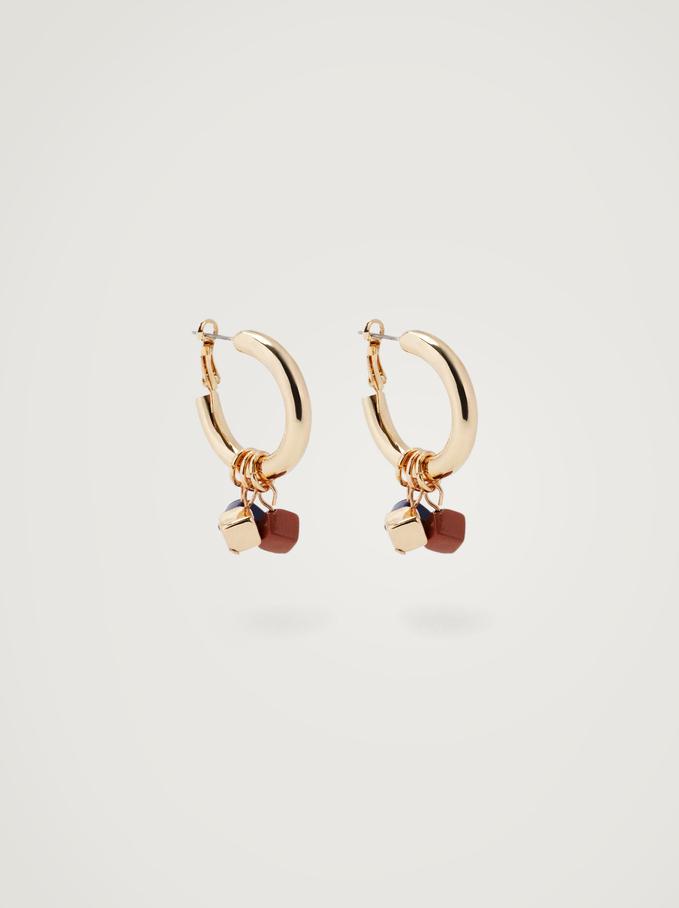 Hoop Earrings With Pendants, Multicolor, hi-res