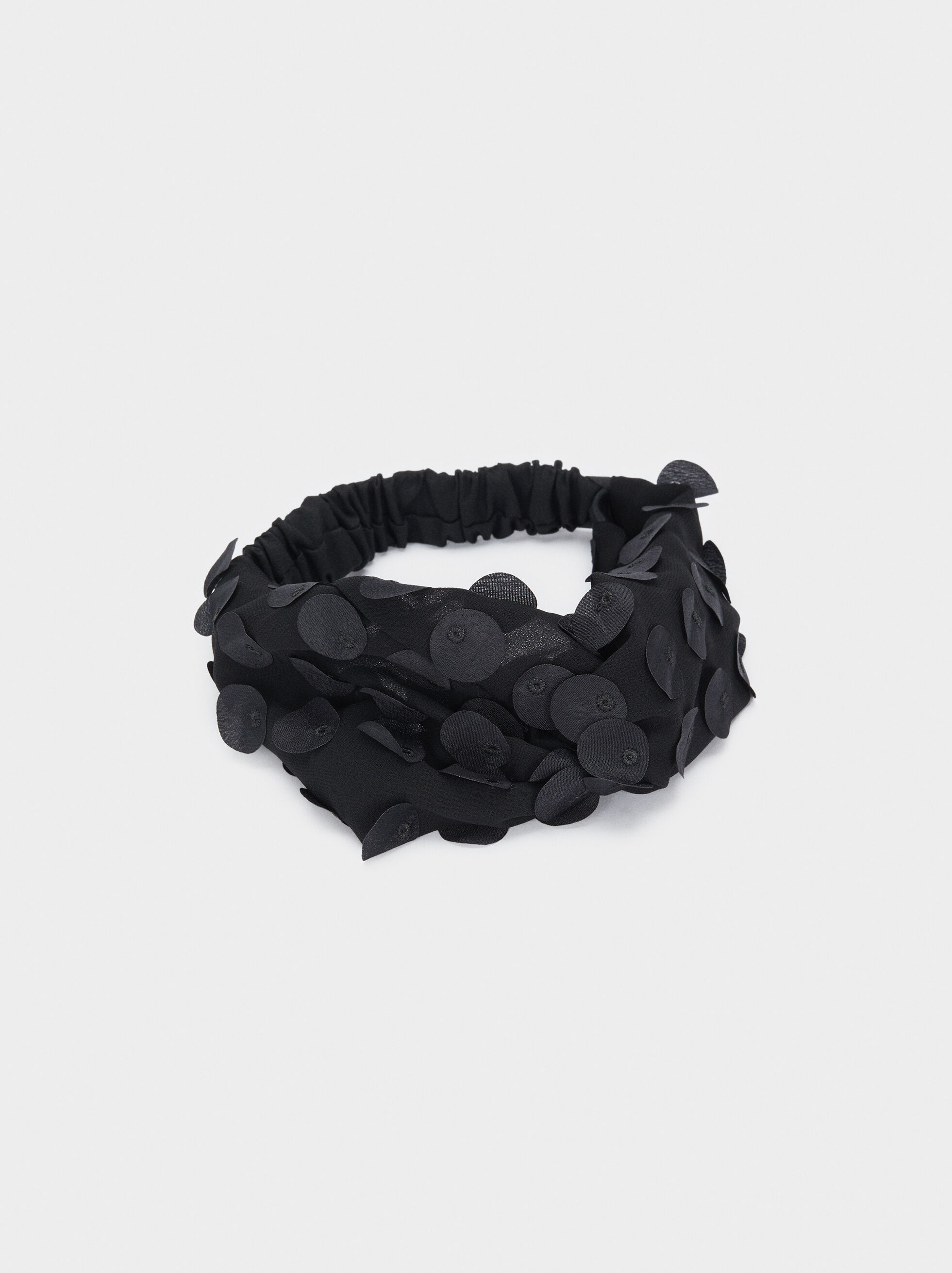Beaded Turban-Style Headband, Black, hi-res