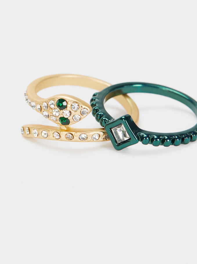 Set Of Multicoloured Snake And Crystal Rings, Multicolor, hi-res