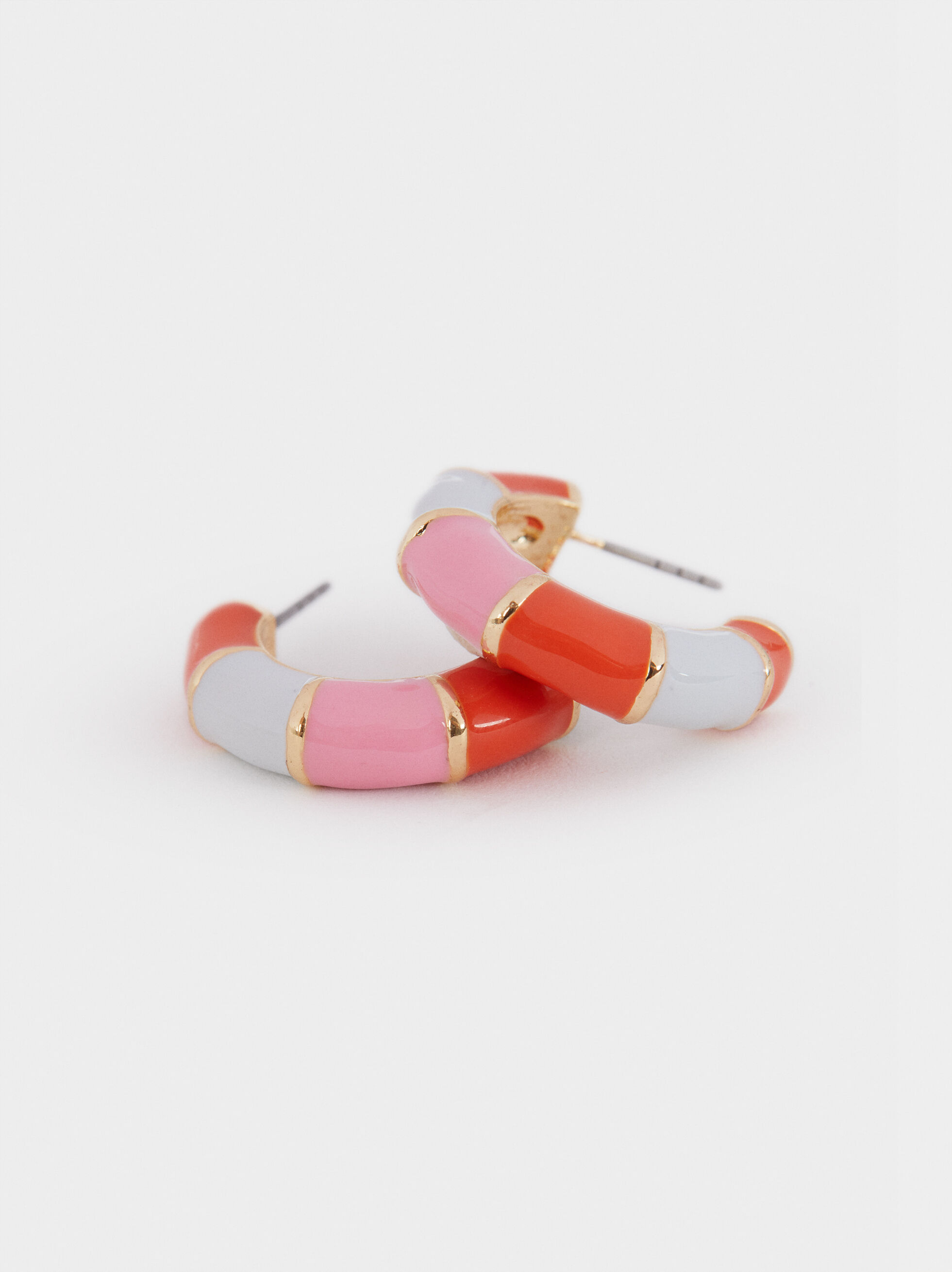 Small Multicolored Hoop Earrings, Multicolor, hi-res