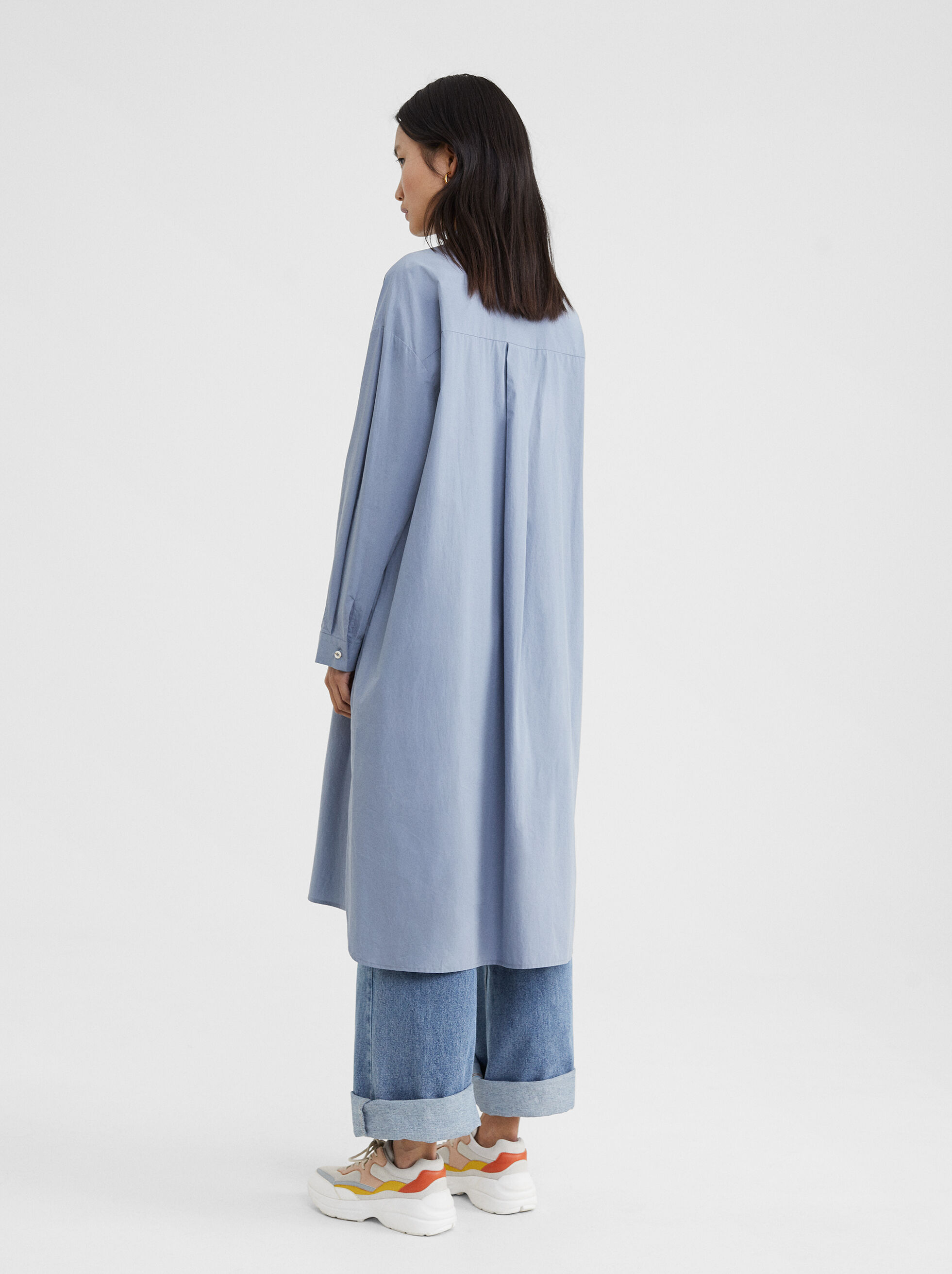 Long Shirt Dress, Blue, hi-res
