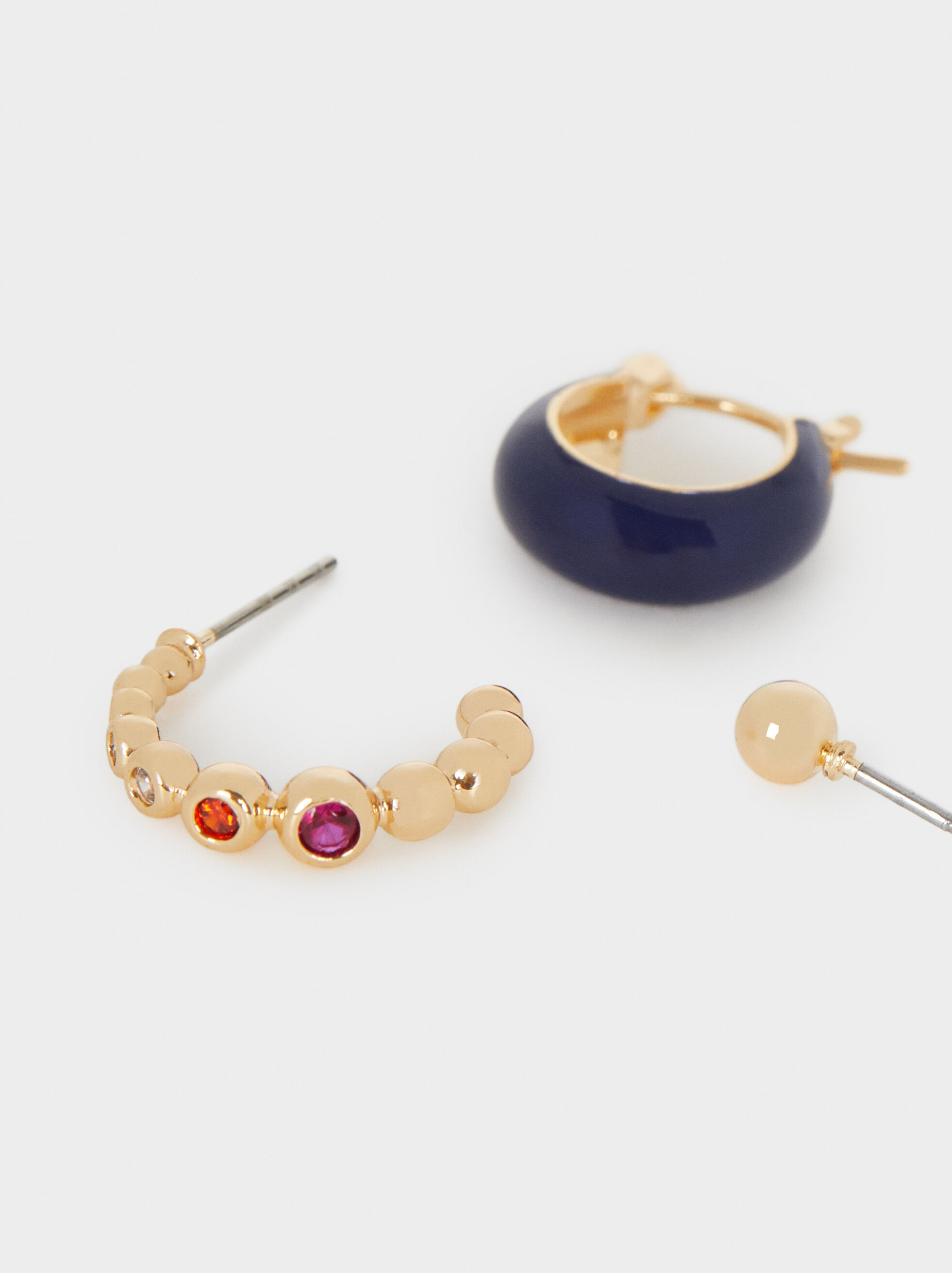 Short Multicoloured Earrings, Multicolor, hi-res