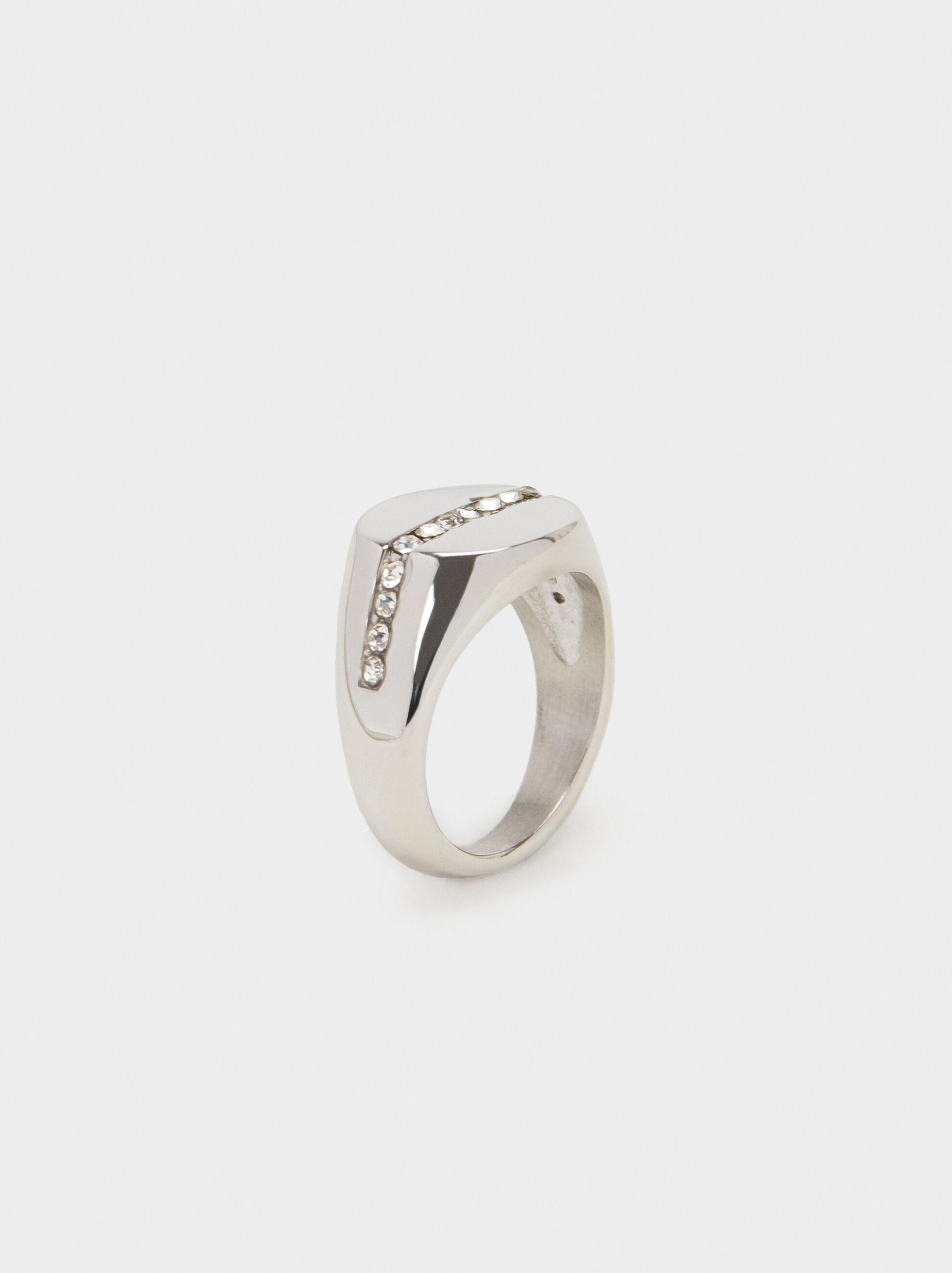 Diamanté Steel Ring, Silver, hi-res