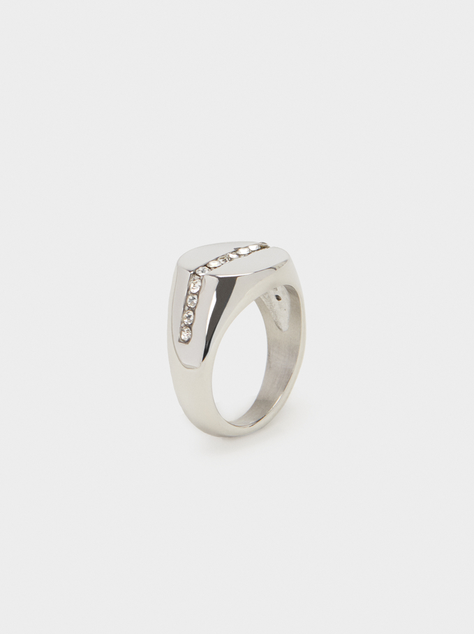 Diamanté Steel Ring, Silver, hi-res