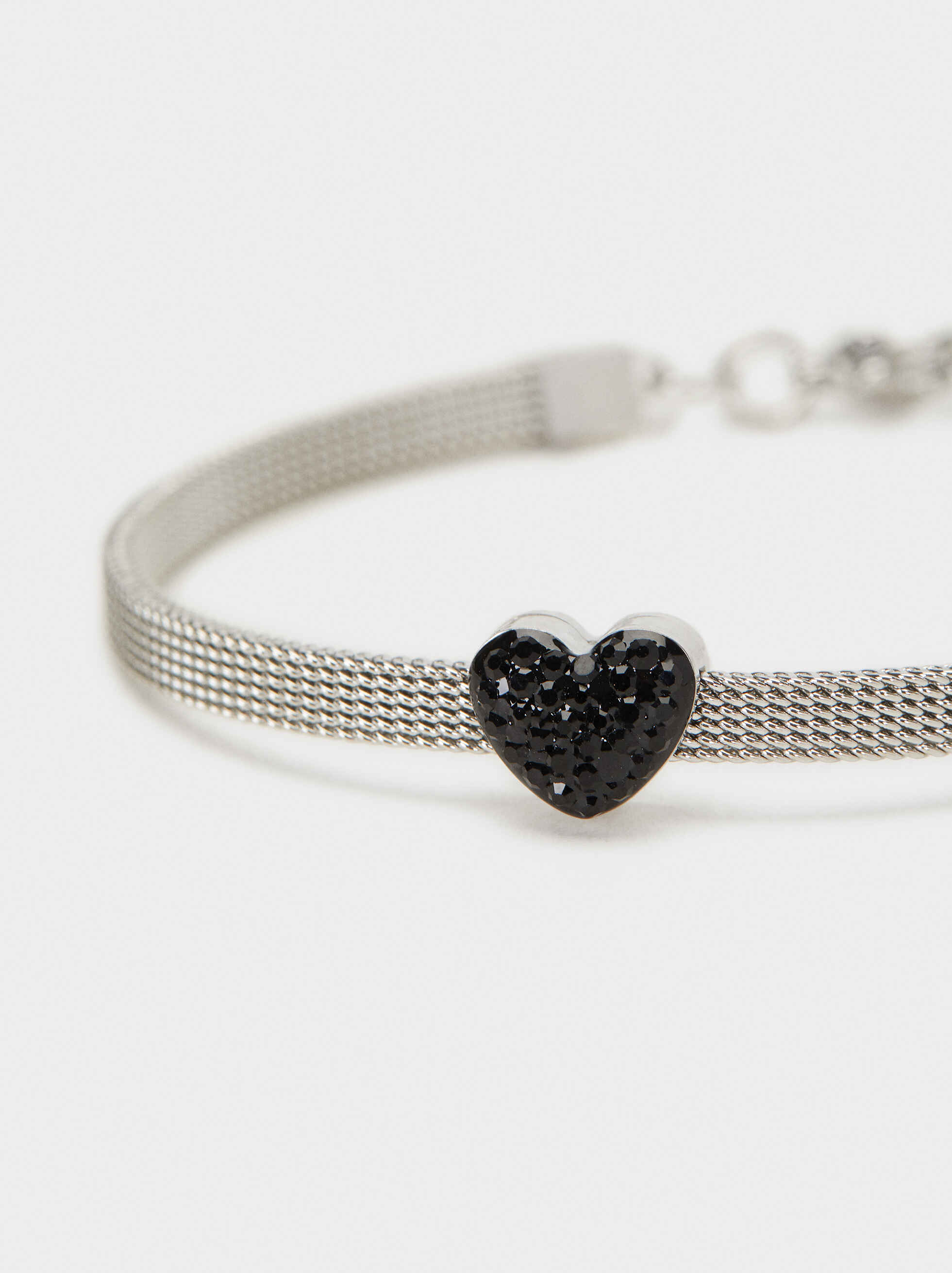 Stainless Steel Bracelet With Heart, Multicolor, hi-res
