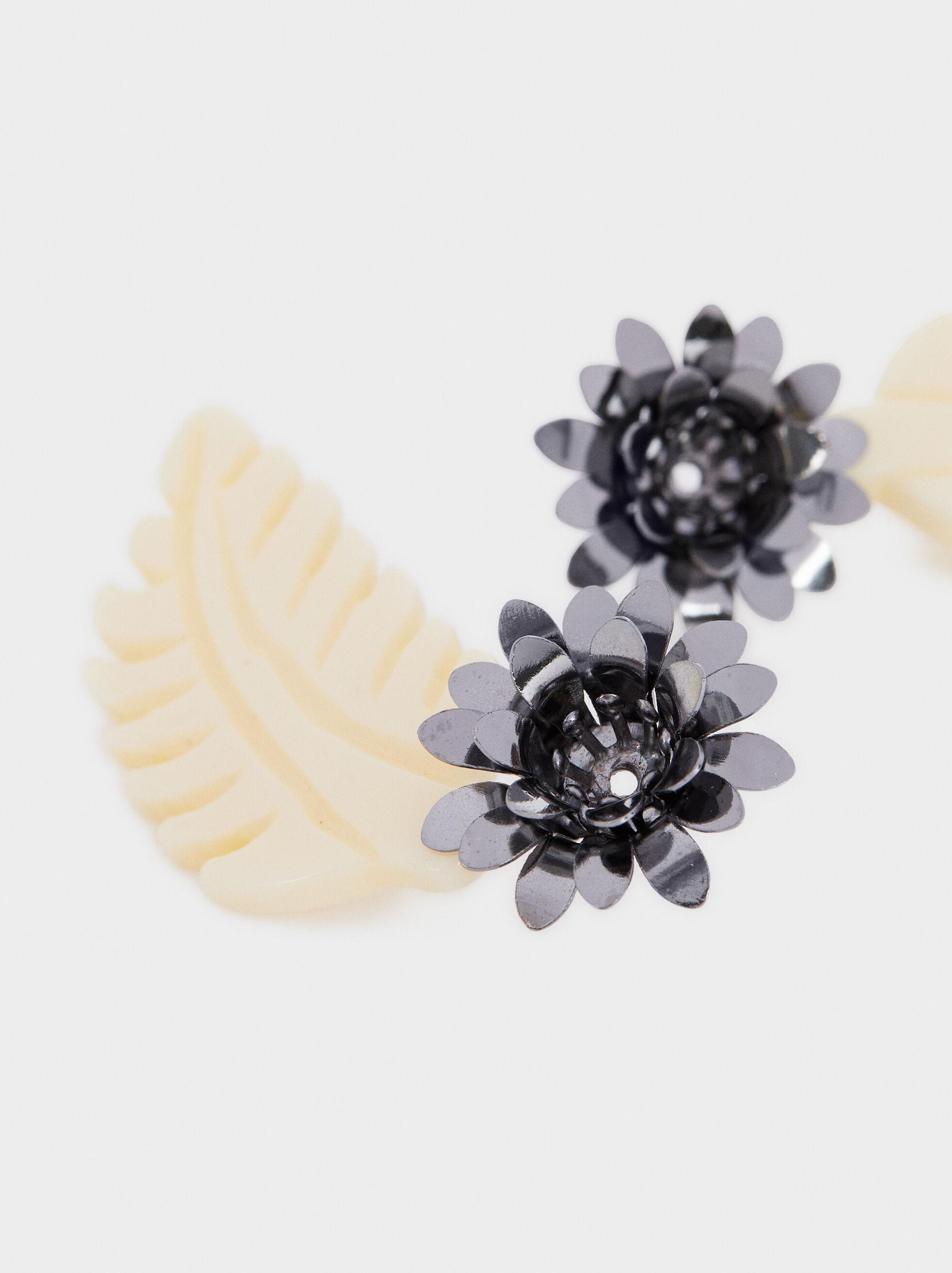 Boucles D'Oreilles Longues Avec Fleur Et Feuille Multicolores, Multicolore, hi-res