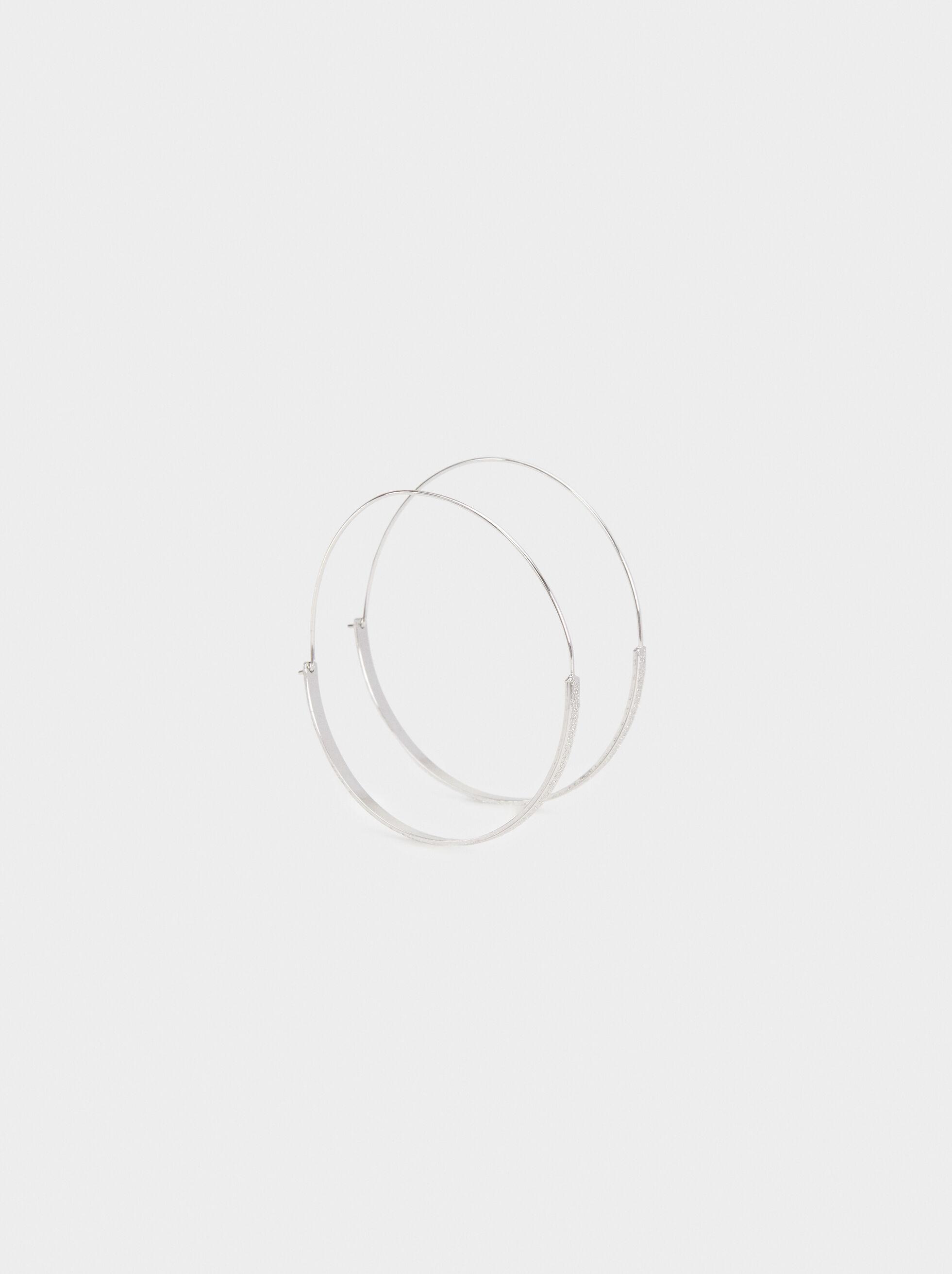 Basic Large Hoop Earrings, Silver, hi-res