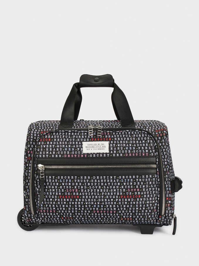 Printed Nylon Weekend Bag, Black, hi-res