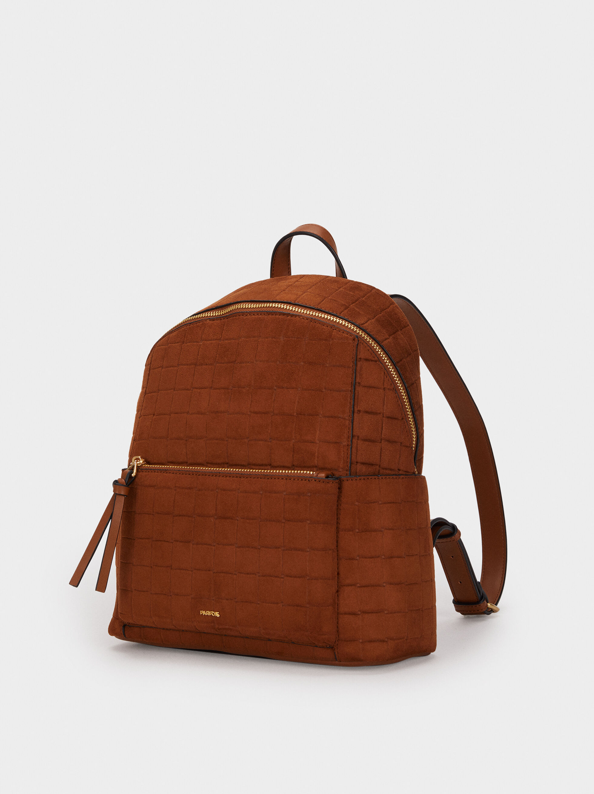 Suede Texture Backpack, Camel, hi-res