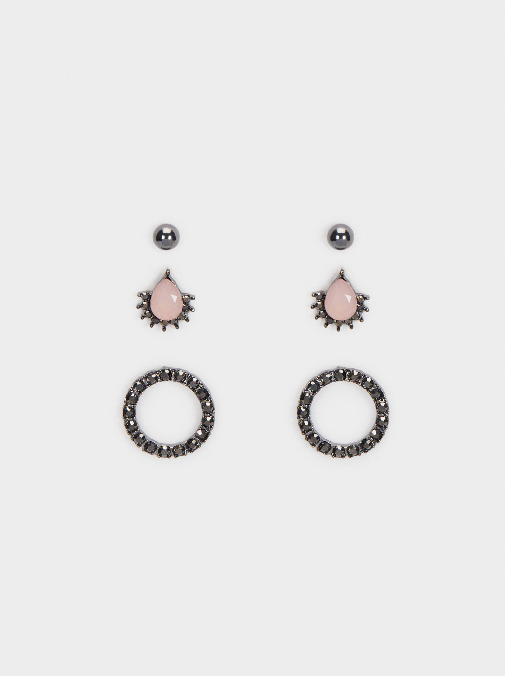 Cosmic Pink Set Of Earrings, Multicolor, hi-res
