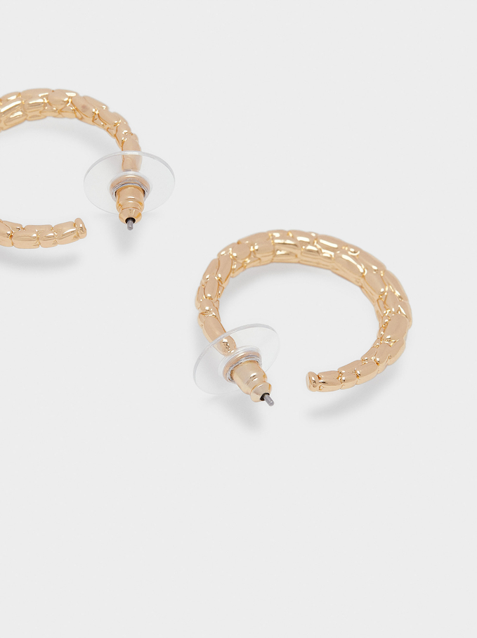 Short Golden Hoop Earrings, Golden, hi-res