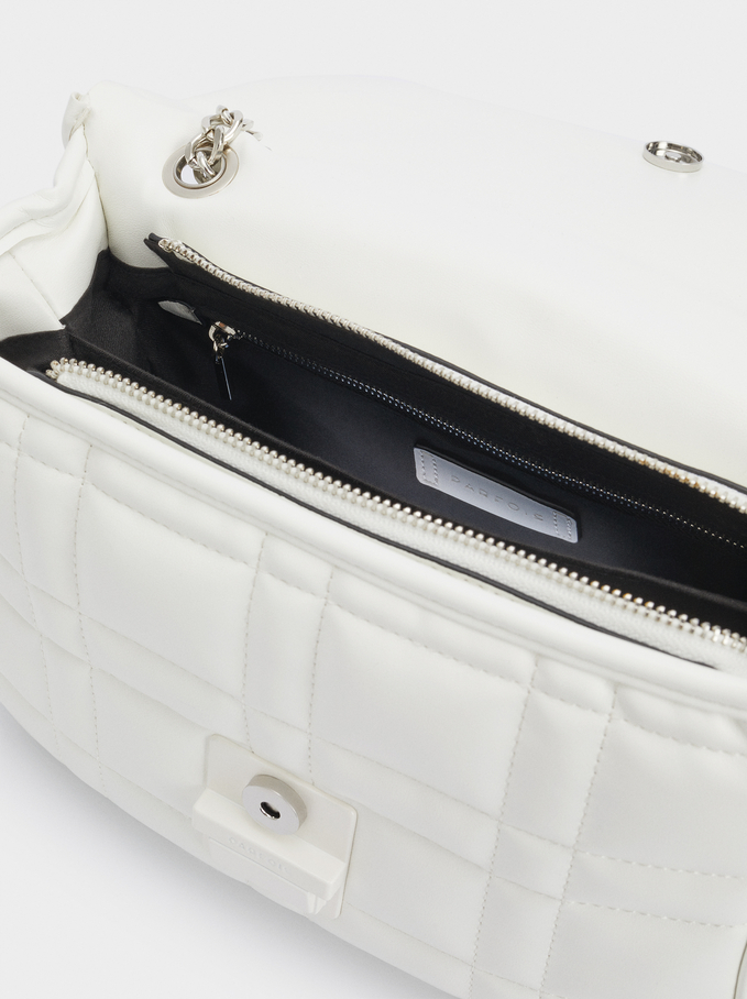 Quilted Crossbody Bag With Contrast Strap, White, hi-res