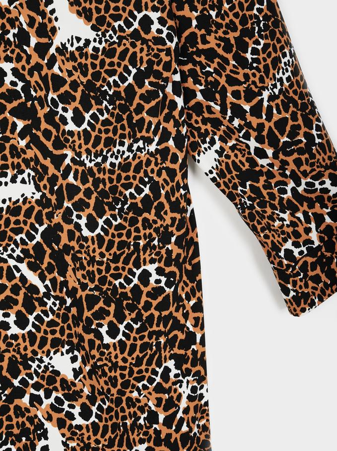 Printed Dress, Orange, hi-res