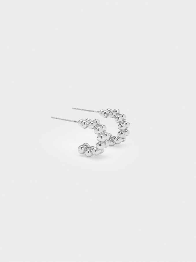 Small Hoop Earrings With Silver Balls, Silver, hi-res