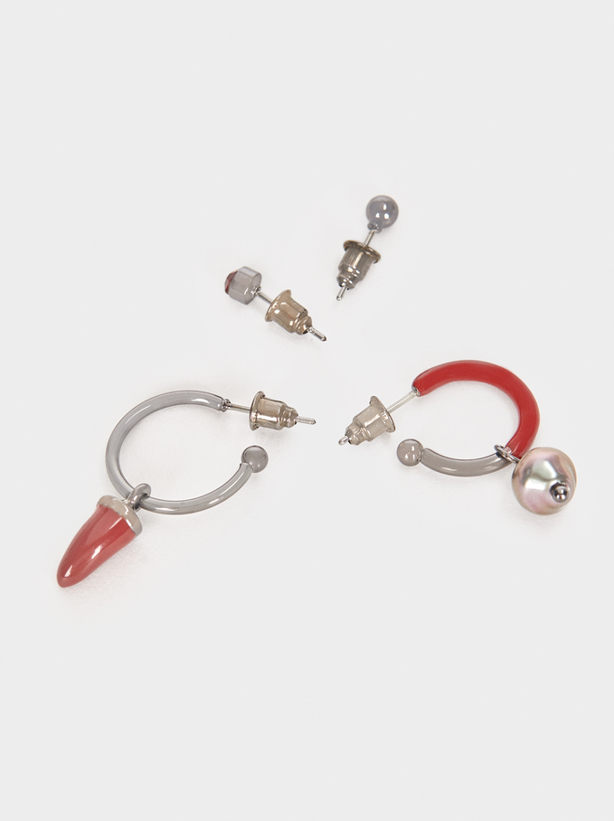 Set Of Hoop Earrings With Multicoloured Horns And Crystals, Multicolor, hi-res