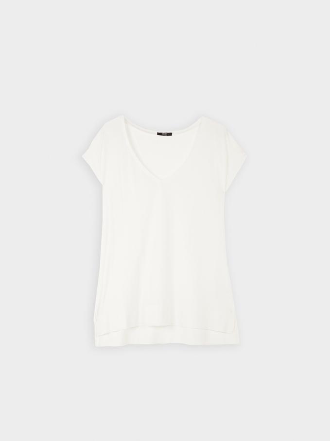 Basic V-Neck T-Shirt, White, hi-res