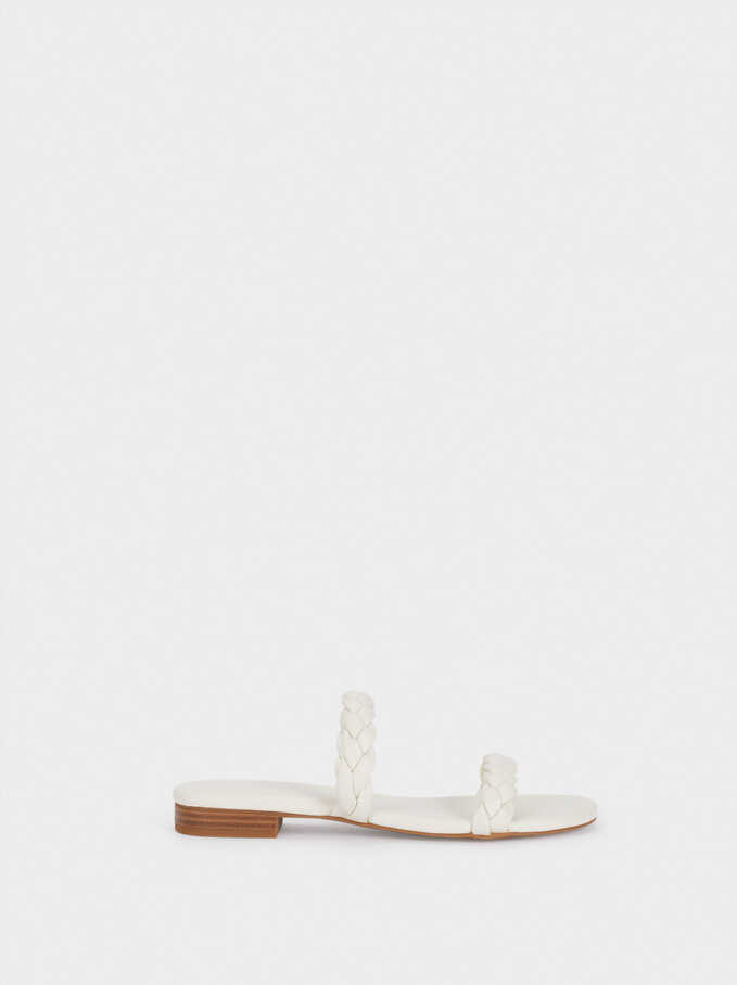Flat Sandals With Braided Straps, White, hi-res