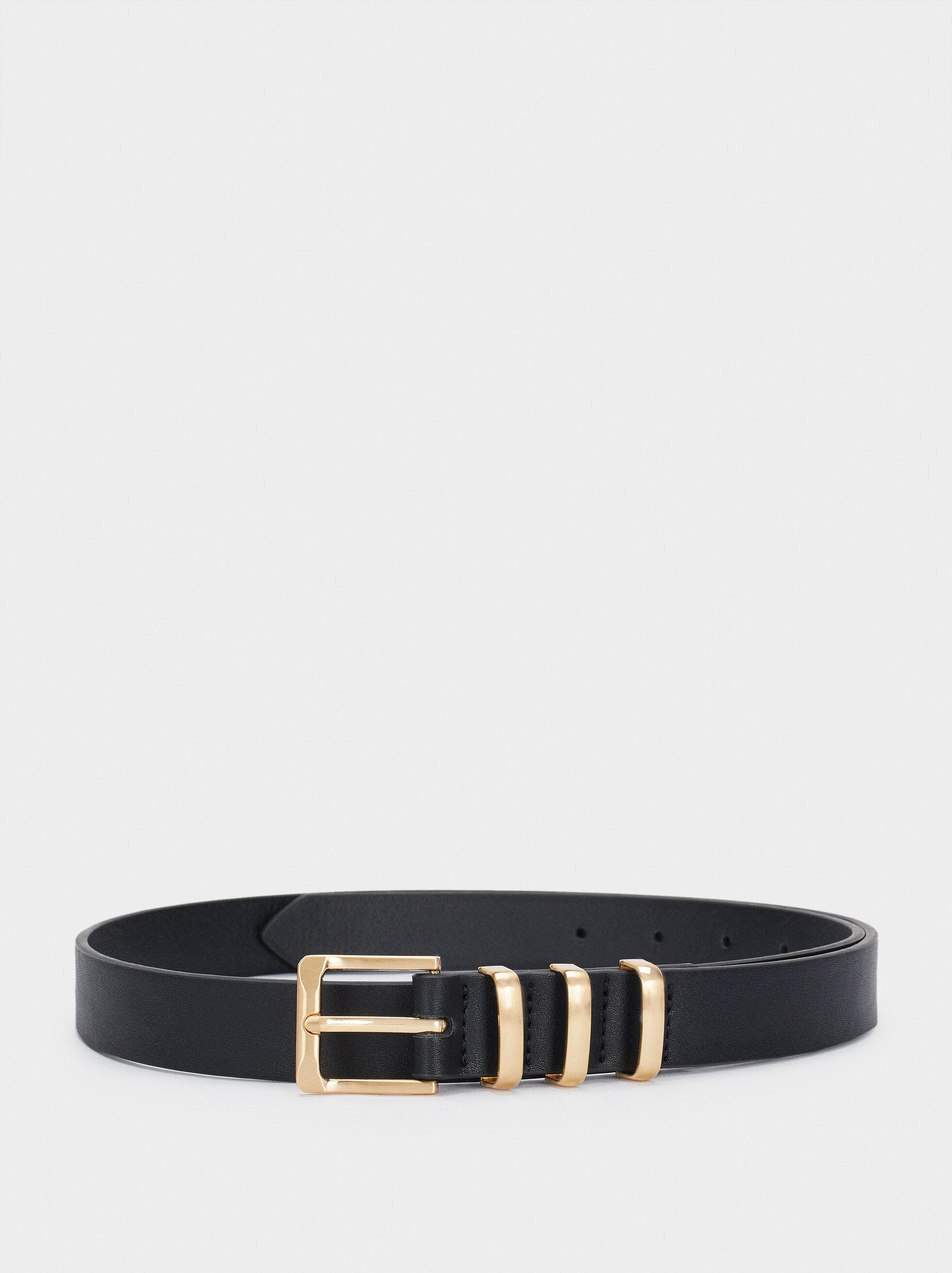 Belt With Gold Buckle, Black, hi-res