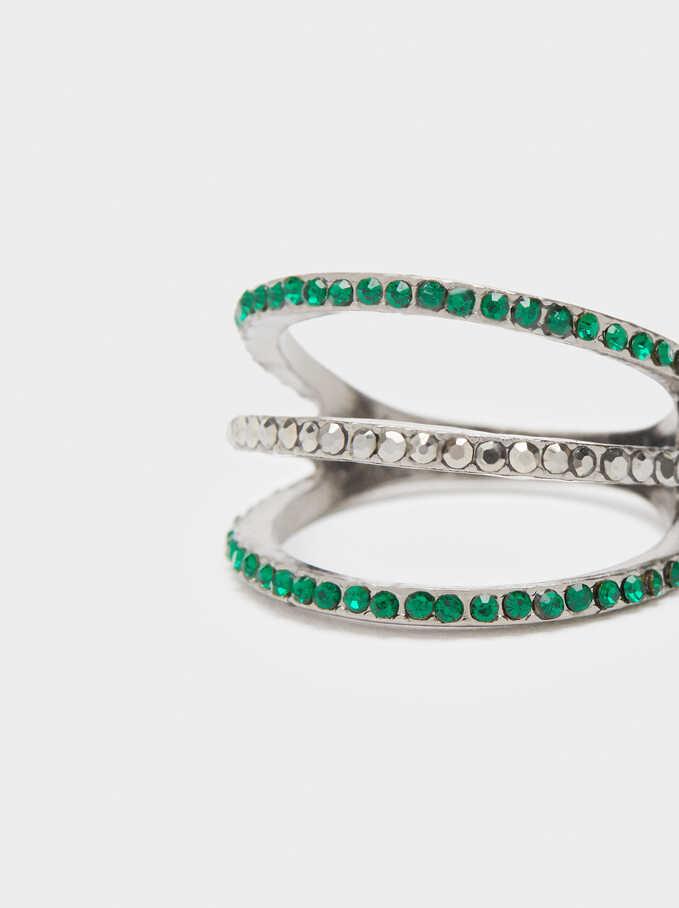 Anillo Aros Con Cristales, Verde, hi-res