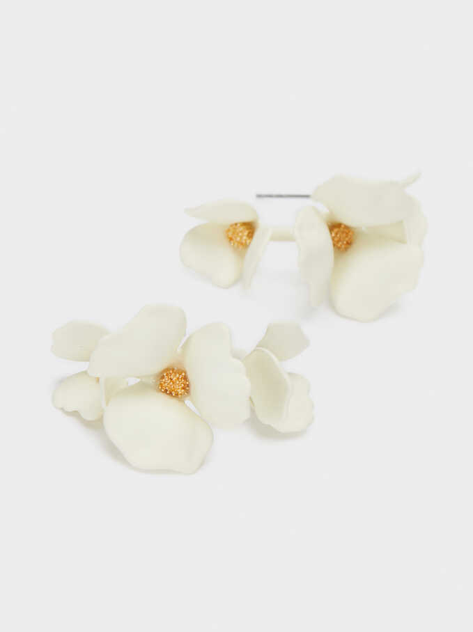Small Flower Hoop Earrings, White, hi-res