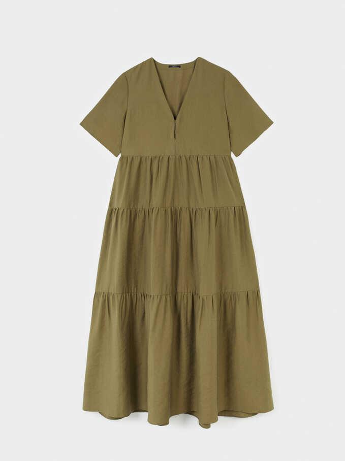 V-Neck Dress, Khaki, hi-res