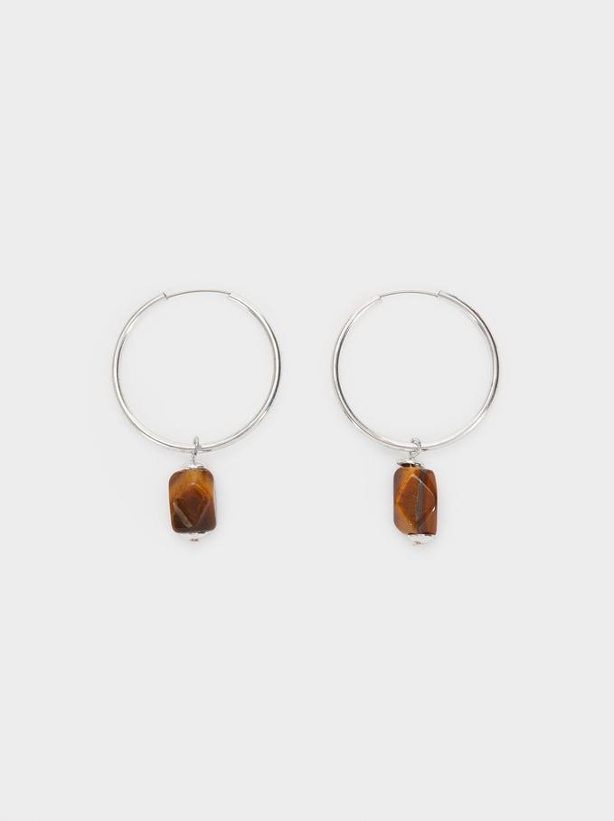 Star Valley Medium Hoop Earrings With Stone, Brown, hi-res