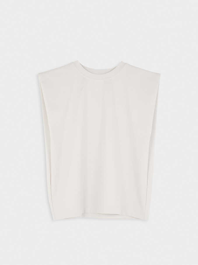 Round Neck T-Shirt With Shoulder Pads, Beige, hi-res