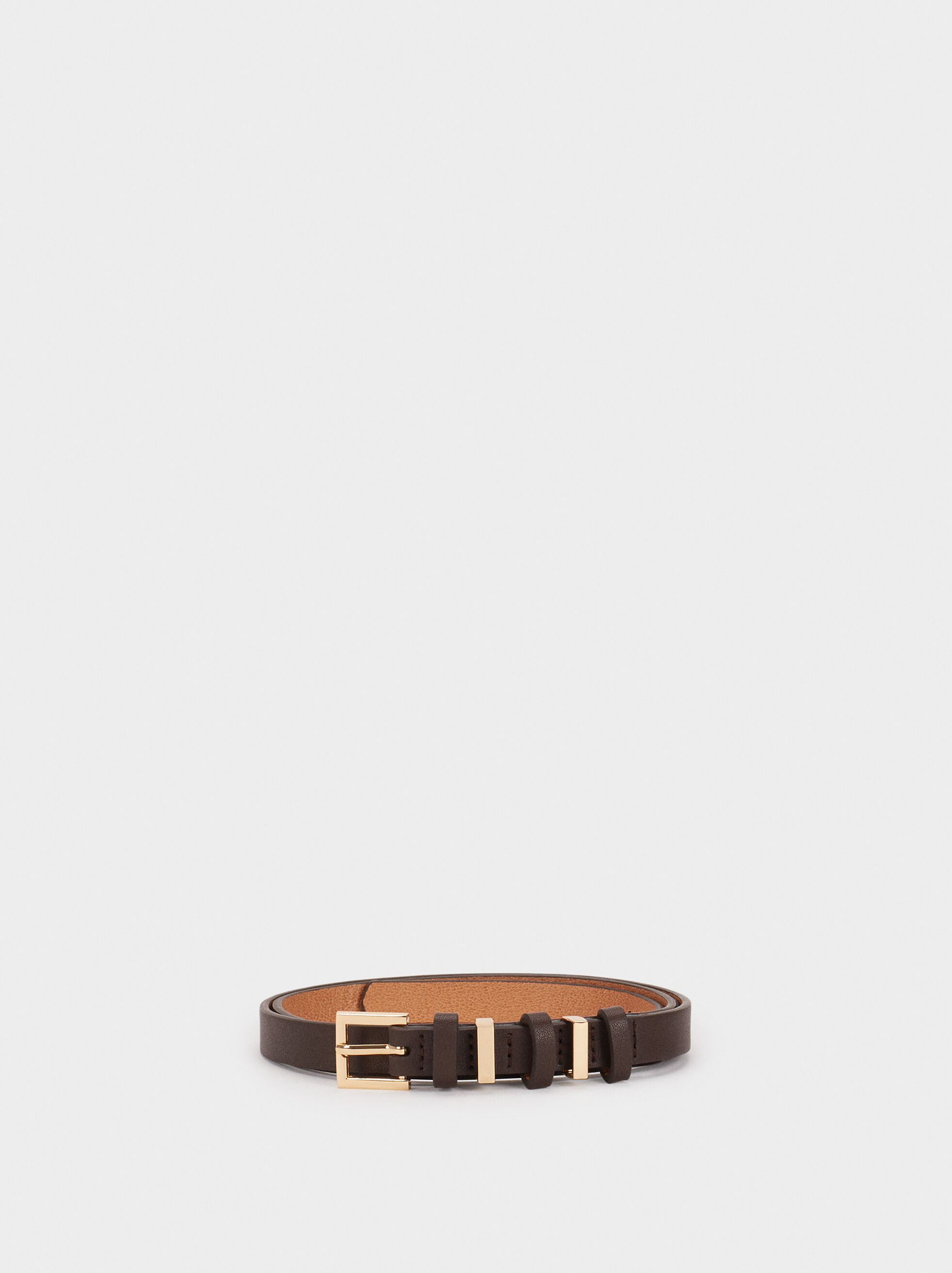 Belt With Contrast Buckles, Brown, hi-res