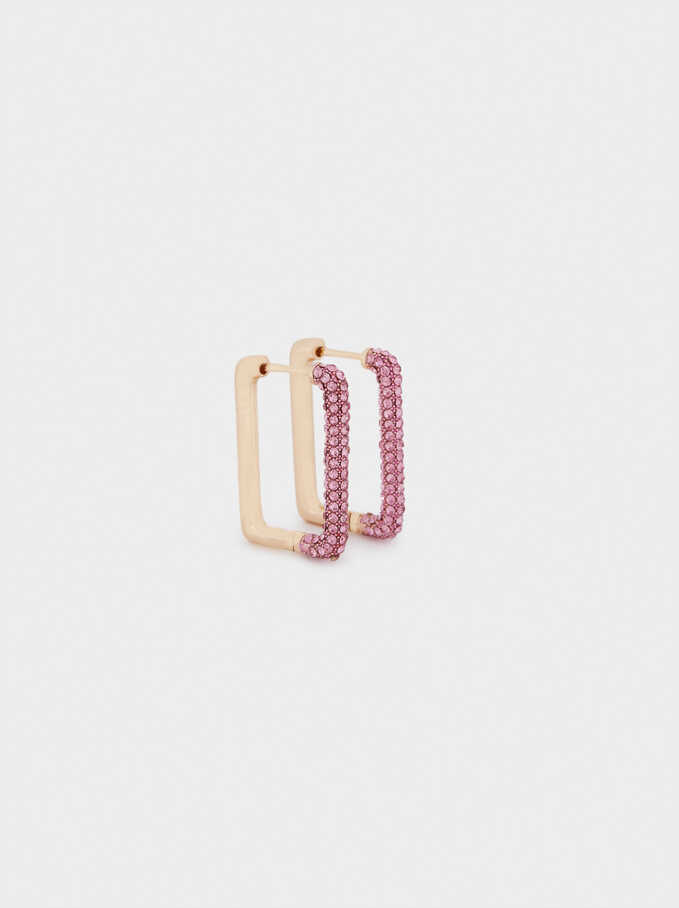 Hoop Earrings With Crystals, Pink, hi-res
