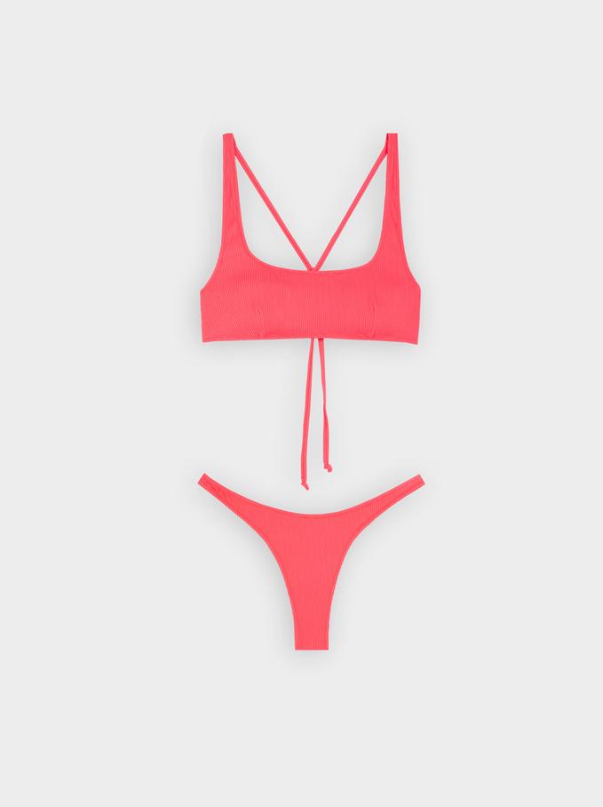 Limited Edition Textured Bikini With Cross Back, Orange, hi-res