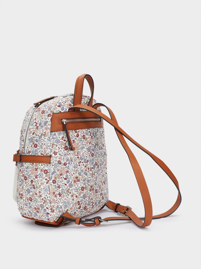 Floral Print Backpack, Blue, hi-res