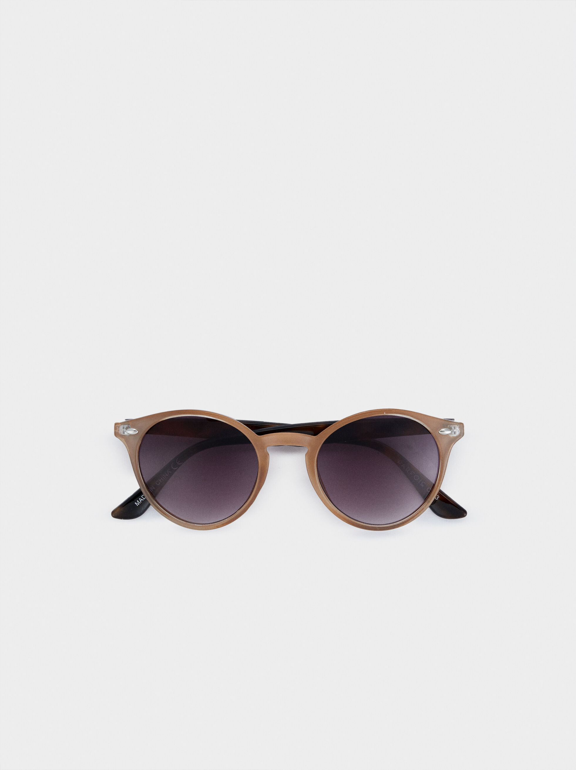 Round Frame Plastic Sunglasses, Brown, hi-res