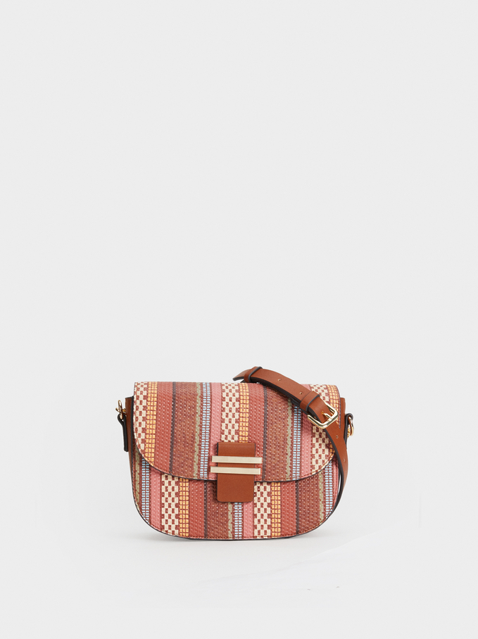 Printed Crossbody Bag With Metal Detail, Camel, hi-res