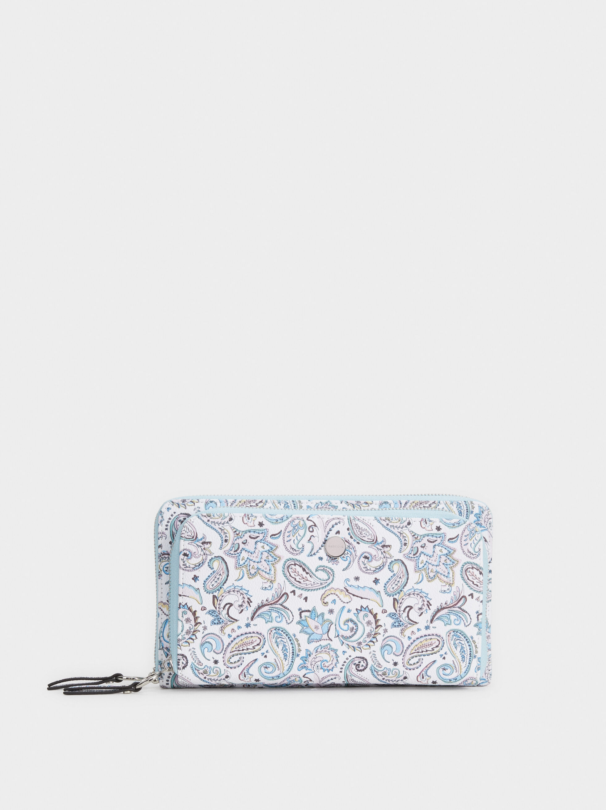 Large Paisley Print Purse, Blue, hi-res