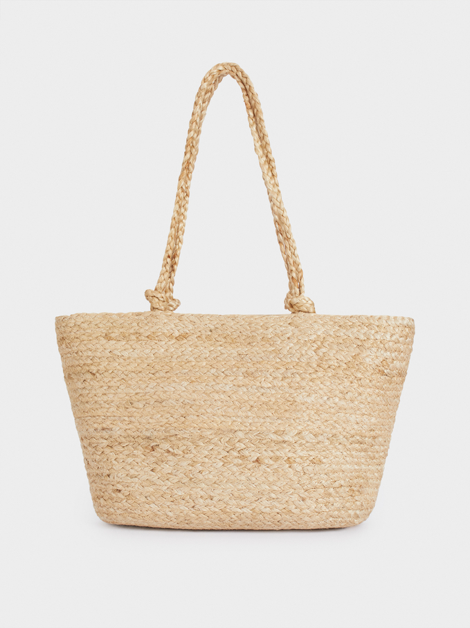 Jute Shopper Bag With Pendant, Beige, hi-res