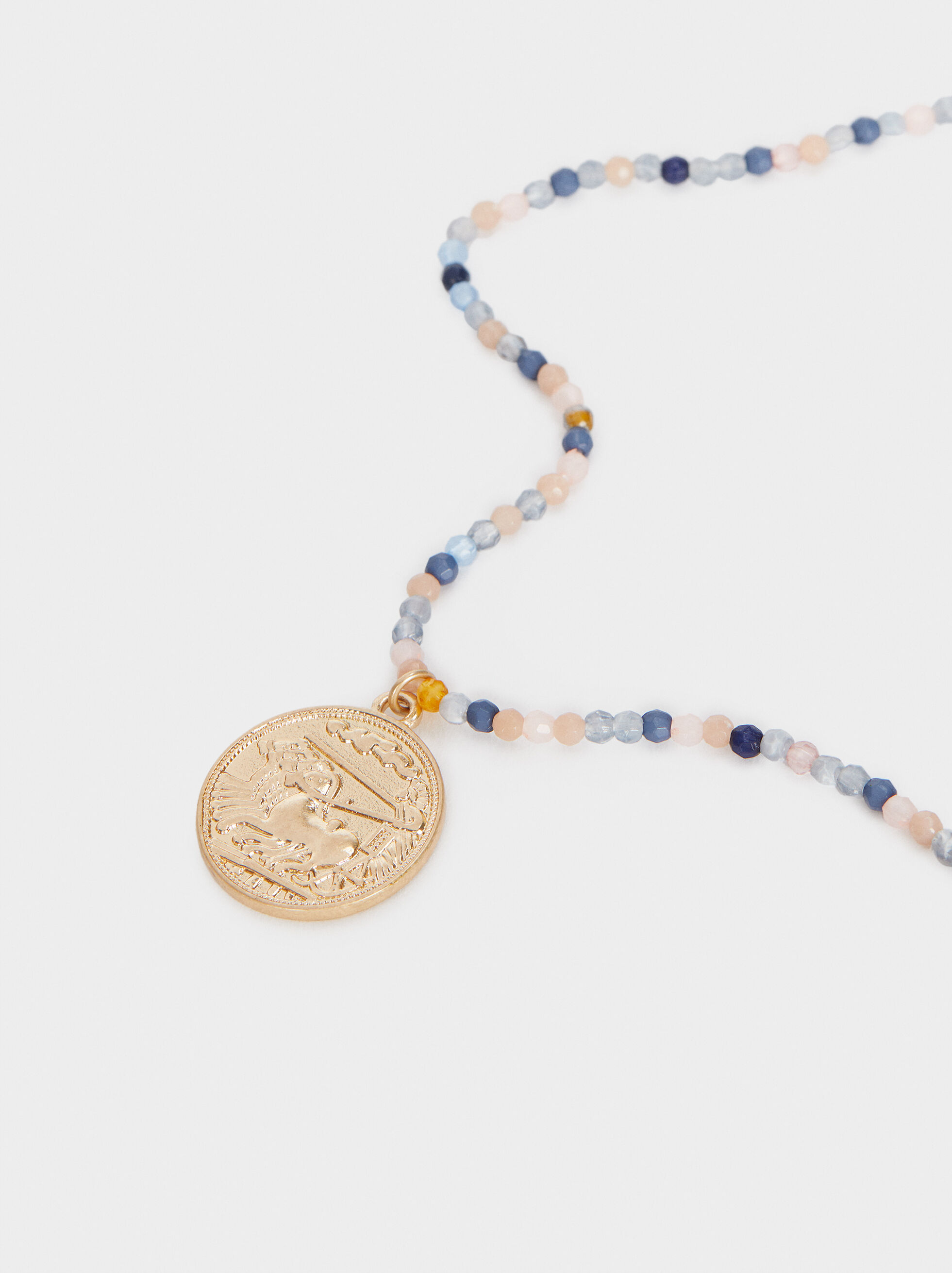 Short Multicoloured Necklace With Coin Detail, Multicolor, hi-res