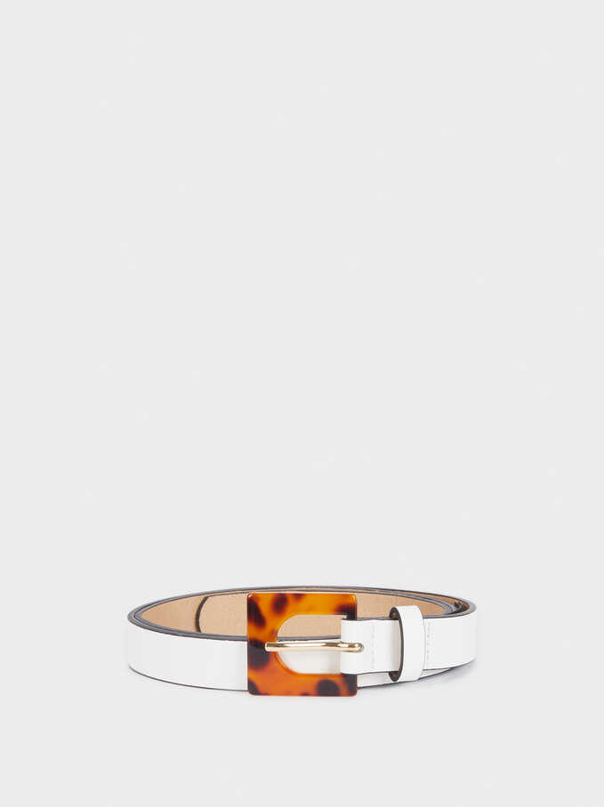 Narrow Belt With Mother-Of-Pearl Buckle, White, hi-res