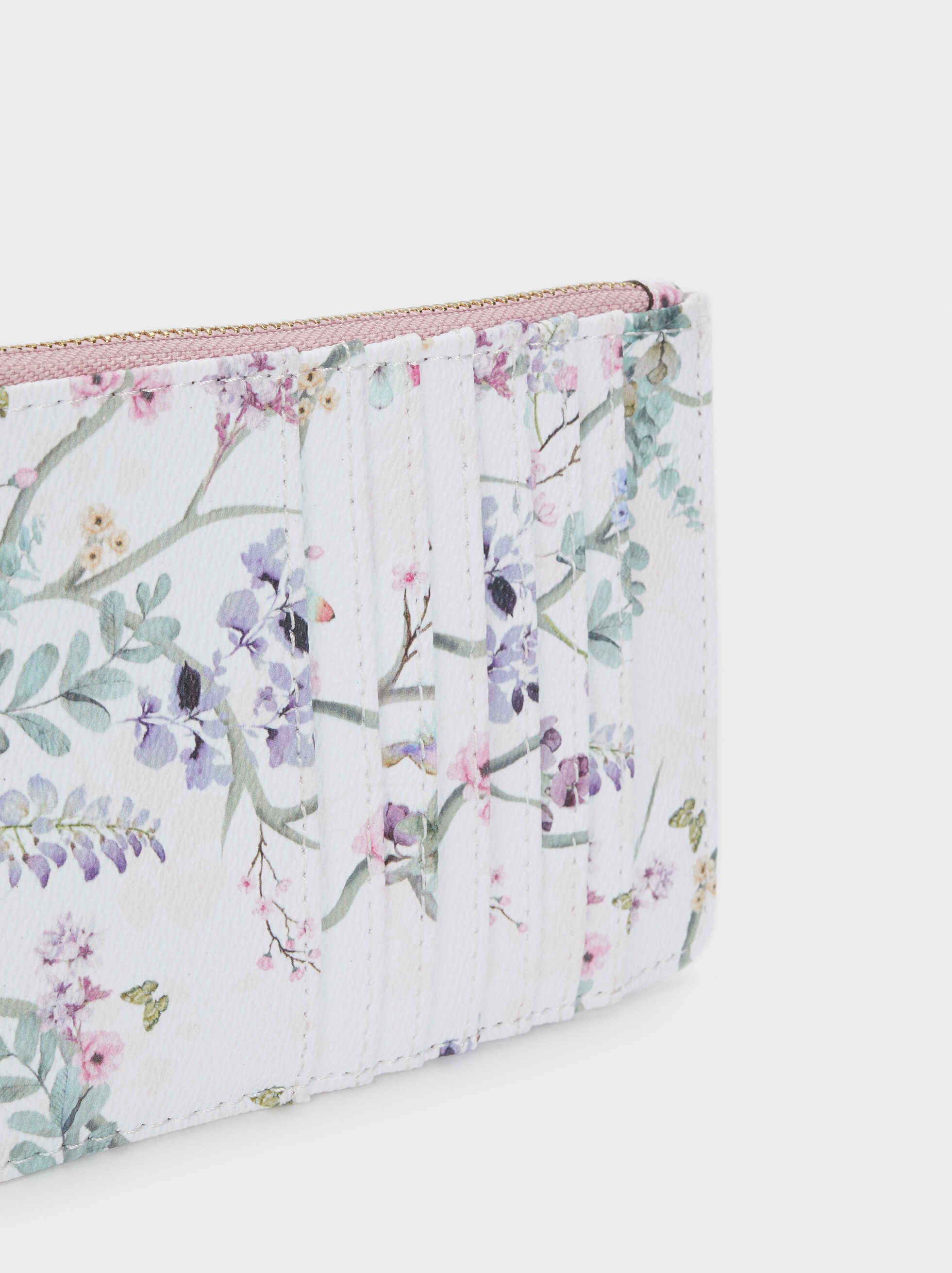 Floral Print Card Holder With Purse, Violet, hi-res