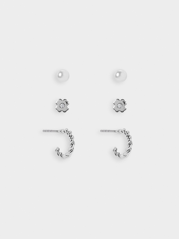 Set Of Silver Hoops With Clover, Silver, hi-res