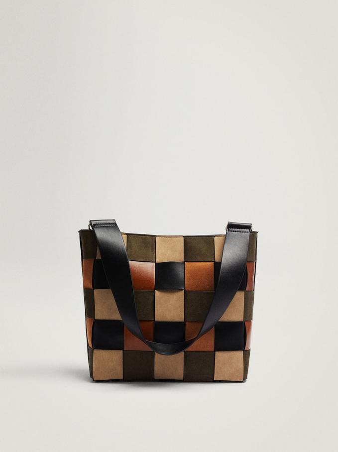 Braided Patchwork Shoulder Bag, Black, hi-res