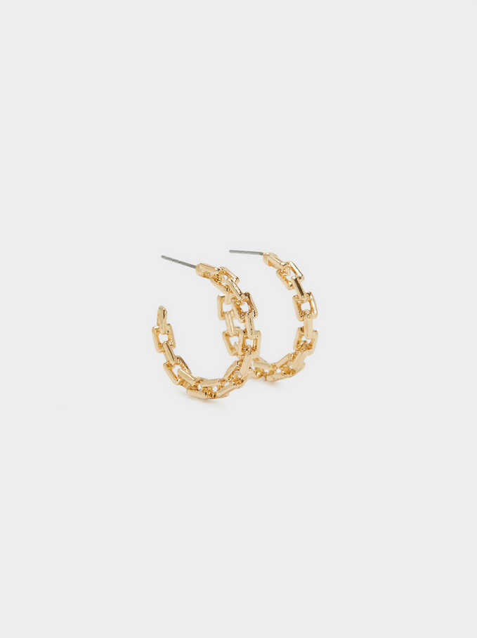 Small Link Hoop Earrings, Golden, hi-res
